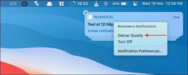 Faceți clic pe Livrare silențioasă din notificare
