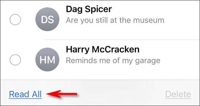 """În Mesaje de pe iPhone sau iPad, atingeți """"Citeste tot"""""""