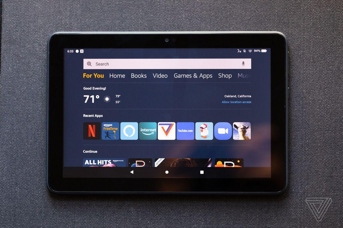 Ecranul de pornire al Fire HD are file pentru toate serviciile Amazon