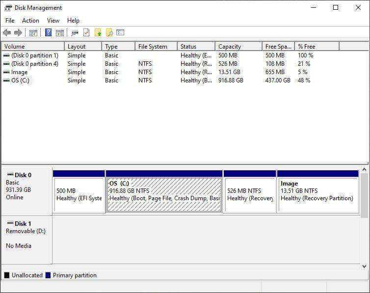 Utilizați managerul de disc Windows pentru a vă asigura că aveți cel puțin 15 GB (mai mult este mai bine) pentru partiția Linux.