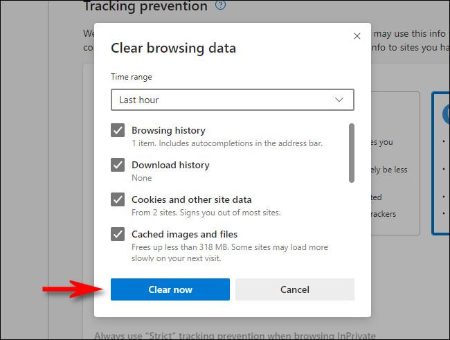 """În Microsoft Edge """"Sterge istoricul de navigare"""" fereastră, faceți clic pe """"Curăță acum."""""""