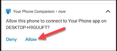 atingeți permiteți notificarea Android