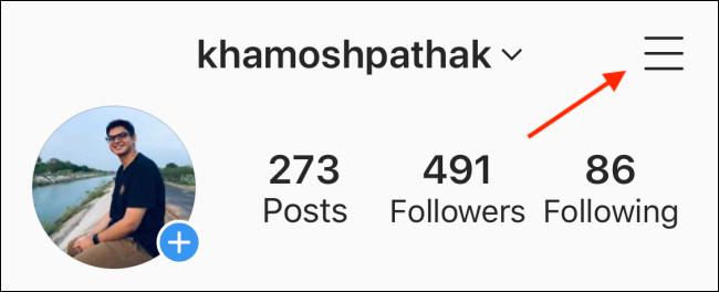 Atingeți Meniu din profilul dvs. Instagram