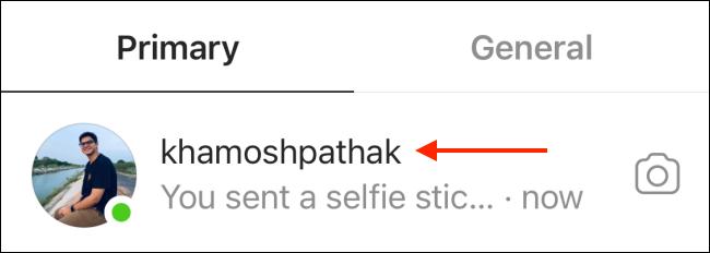 Selectați Conversație din Instagram DM