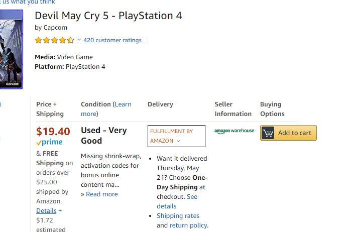 Înregistrare Amazon Warehouse pentru Devil May Cry 5