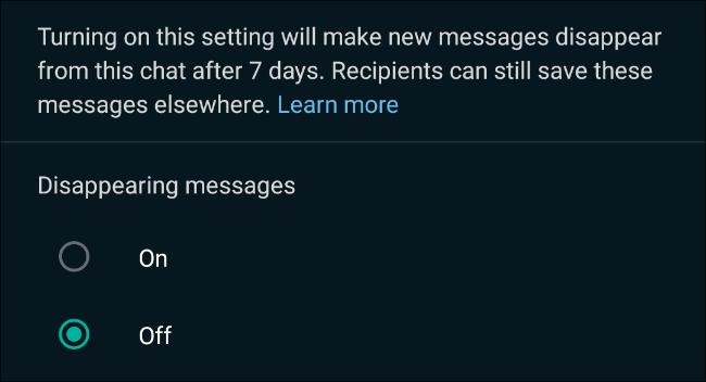 Activați mesajele care dispar în chaturile WhatsApp