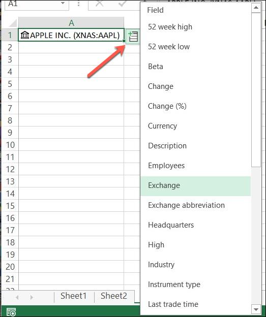 Faceți clic pe Inserare date pentru a vizualiza o listă