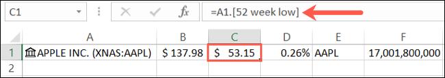 Detalii date stocuri în Formula Bar