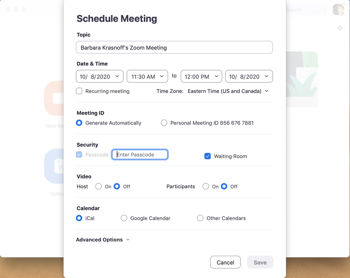 Când programați o întâlnire, primiți o varietate de opțiuni pentru securitate și notificare.