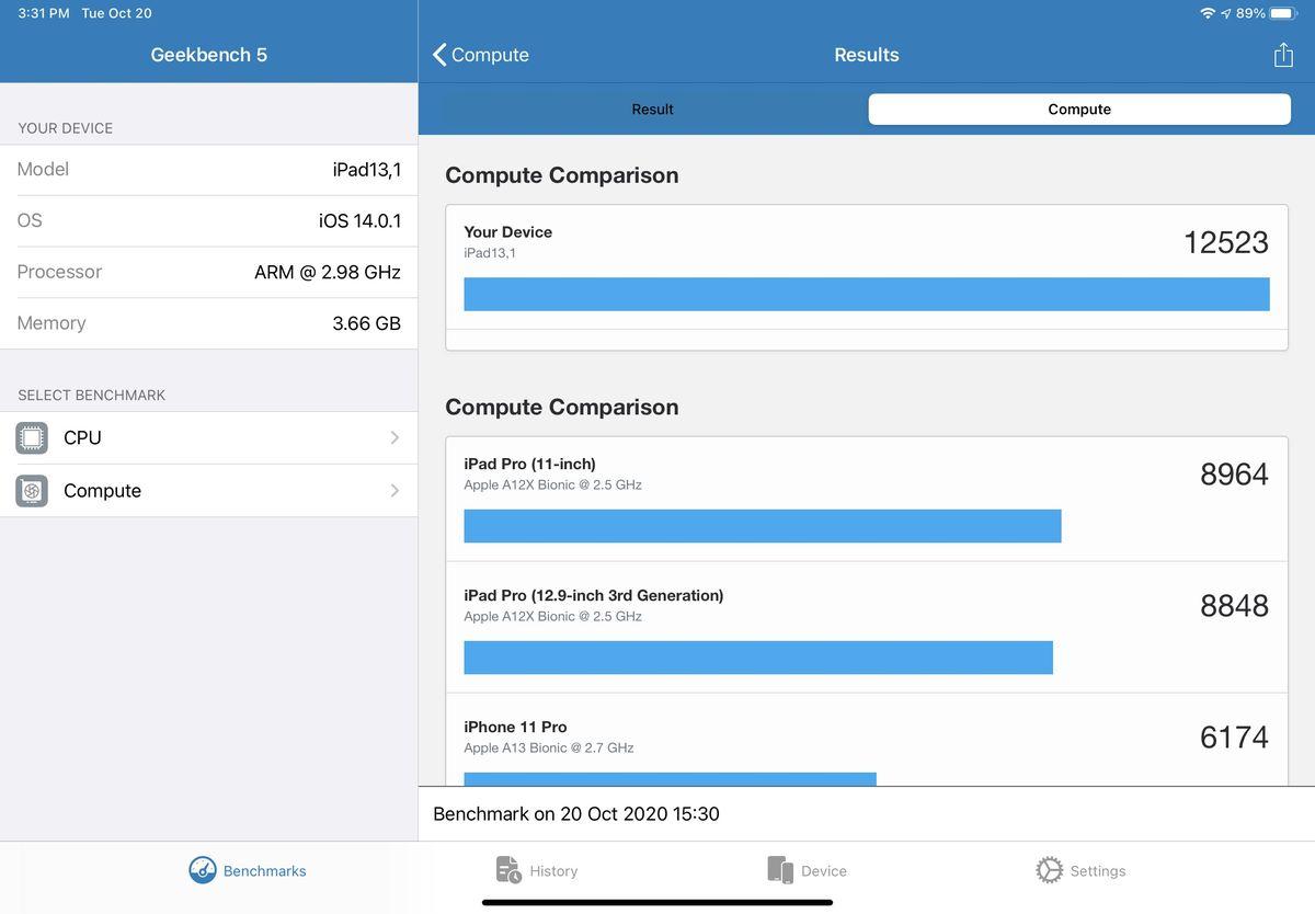 Geekbench 5 Pro calculează rezultatele de referință