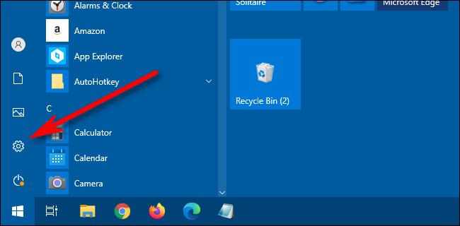 """În Windows 10 Start Menu, faceți clic pe """"Angrenaj"""" pictogramă pentru a deschide Setări."""
