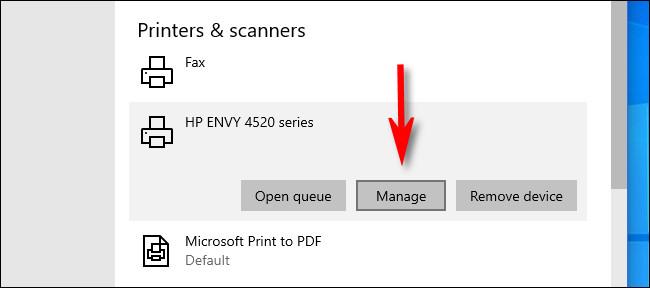 """În Setări Windows 10, faceți clic pe imprimanta pe care doriți să o setați ca implicită și selectați """"Administra."""""""