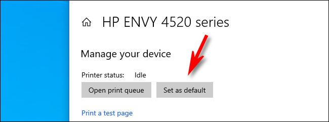 """În setările imprimantei Windows 10, faceți clic pe """"Setați ca implicit."""""""