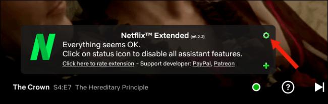 Faceți clic pe pictograma setări roată din Netflix Extended