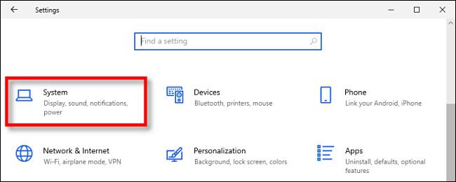 """În Windows 10 Settings, faceți clic pe """"Sistem."""""""