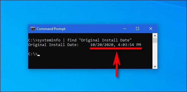 """Tasteaza """"informatie de sistem"""" comanda într-un prompt de comandă Windows pentru a obține cea mai recentă dată de instalare a actualizării majore."""