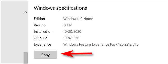 """În Setări Windows, faceți clic pe """"Copie"""" pentru a copia specificațiile Windows în clipboard."""