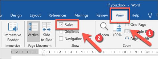 """Faceți clic pe View></noscript> Ruler pentru a activa bara de panglică în Microsoft Word"""" width=""""513″ height=""""191″ onload=""""pagespeed.lazyLoadImages.loadIfVisibleAndMaybeBeacon(this);"""" onerror=""""this.onerror=null;pagespeed.lazyLoadImages.loadIfVisibleAndMaybeBeacon(this);""""/></p> <p>Aceasta va afișa rigla în partea de sus și în stânga documentului.  Zonele în alb se află în zona de imprimare a documentului, potrivindu-se cu marginile paginii documentului.  Fiecare punct de pe riglă are dimensiunea de 0,25 cm.</p> <p>Pentru a seta o liniuță de cotație bloc, selectați cotația dvs., apoi trageți pictogramele în stilul clepsidrei din partea de sus a barei de meniu până când pictogramele de sus și de jos stau la punctul 0,5cm.</p> <p><img class="""