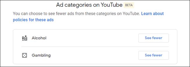 setări de personalizare a anunțurilor YouTube