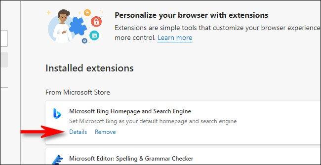 """În lista extensiilor Edge, faceți clic pe """"Detalii"""" legătură."""