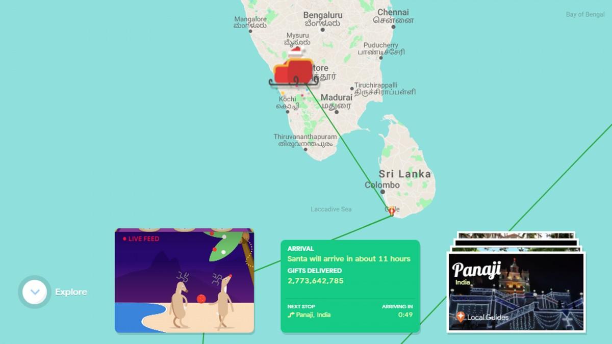 O captură de ecran a site-ului web Google Santa Tracker.