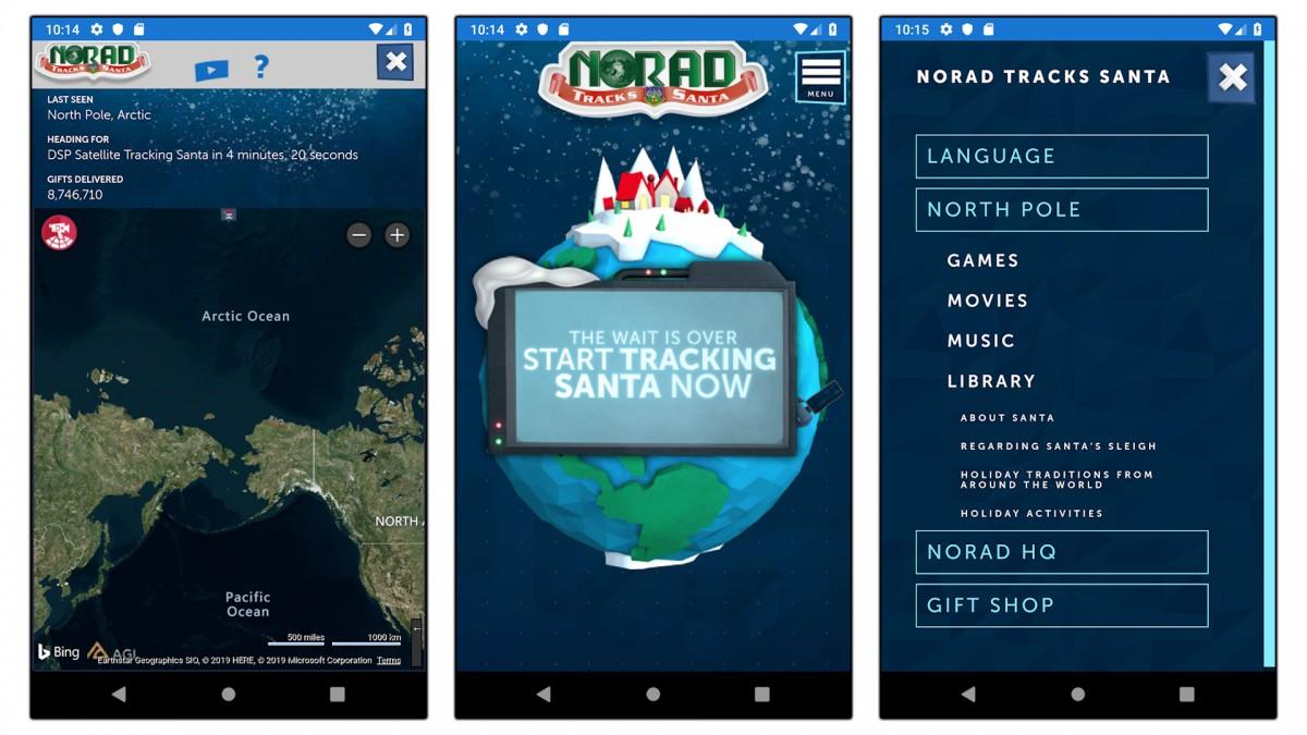 Capturi de ecran ale aplicației NORAD