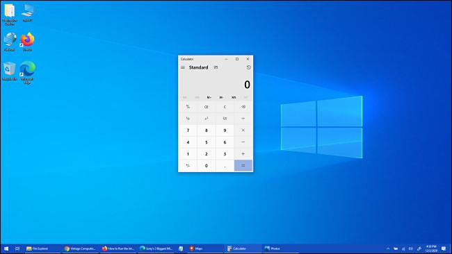 Aplicația Calculator Windows 10 a fost adusă în prim-plan.