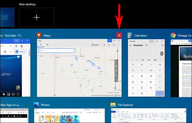 Închiderea unei ferestre în Windows 10 Task View făcând clic pe butonul X.
