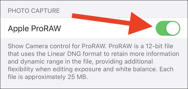 Comutați pe Apple ProRAW