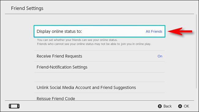 """În Comutare setări utilizator, selectați """"Afișează starea online la."""""""