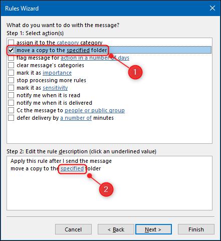 """""""mutați o copie în folderul specificat"""" opțiunea din Expertul pentru reguli."""