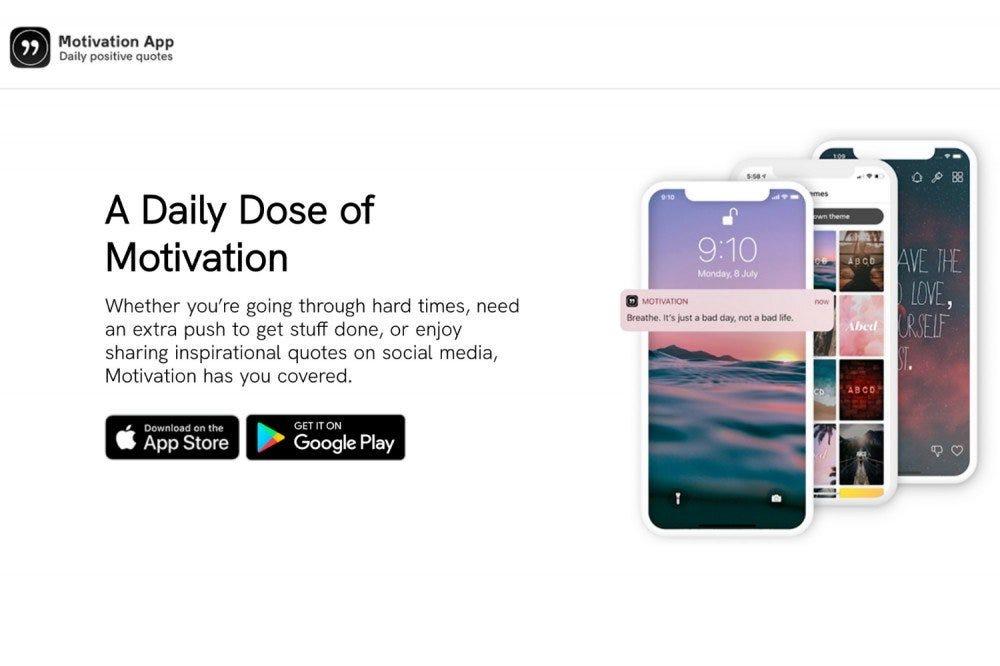 Splashpage pentru aplicația Motivation.