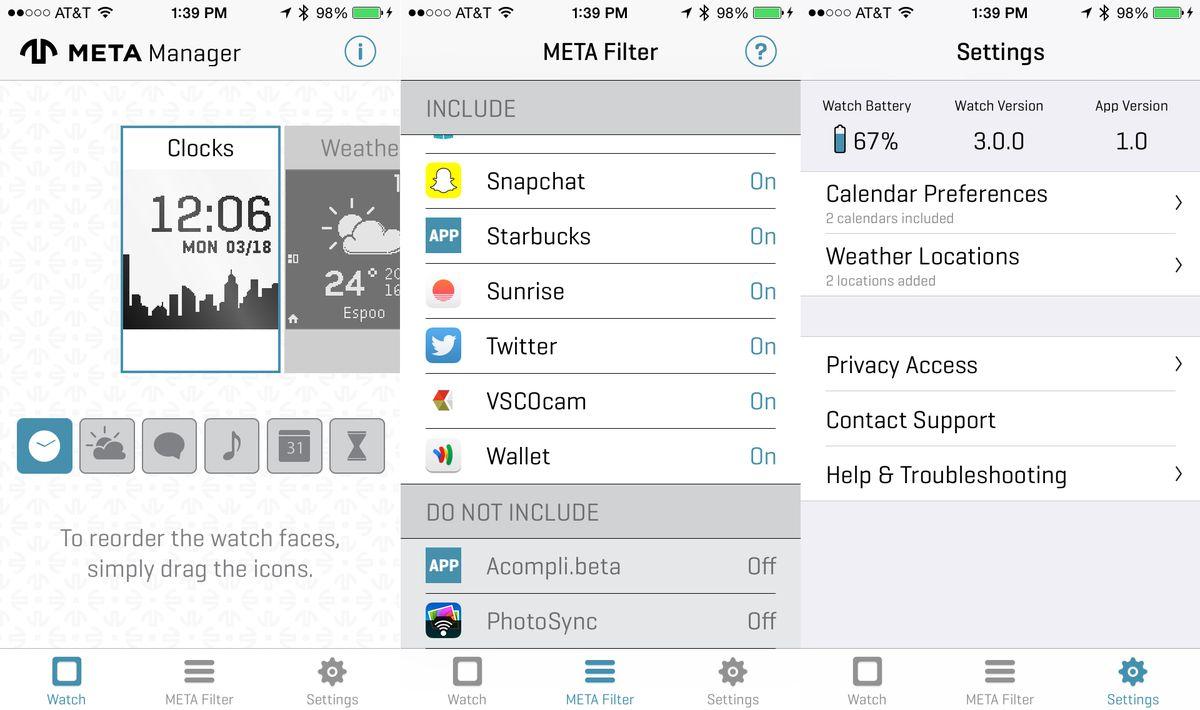 Aplicația Meta Watch Meta M1