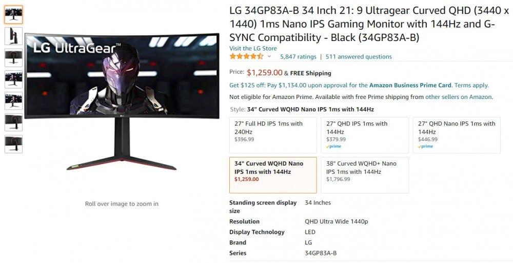 Înregistrarea monitorului Amazon LG