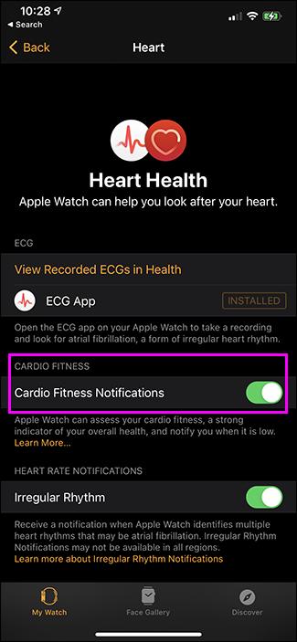 comutare cardio fitness notificări
