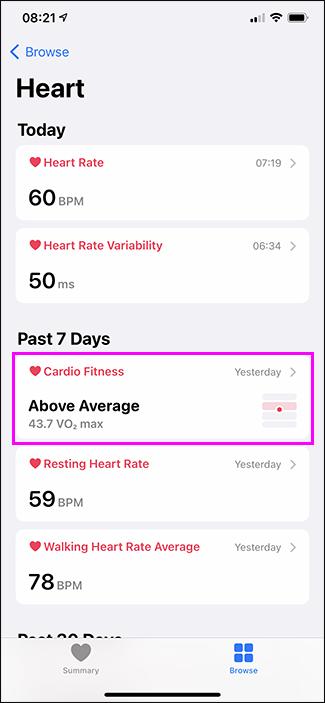 opțiune de fitness cardio în aplicația pentru sănătate
