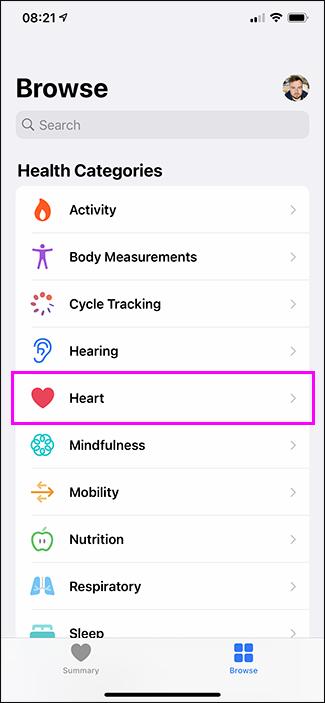 opțiunea cardiacă în aplicația pentru sănătate