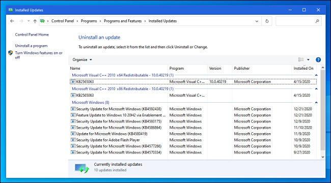 Vizualizarea actualizărilor instalate în Panoul de control Windows 10.