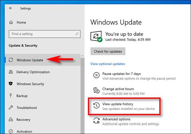 """Faceți clic pe Actualizare Windows, apoi faceți clic pe """"Vizualizați istoricul actualizărilor."""""""
