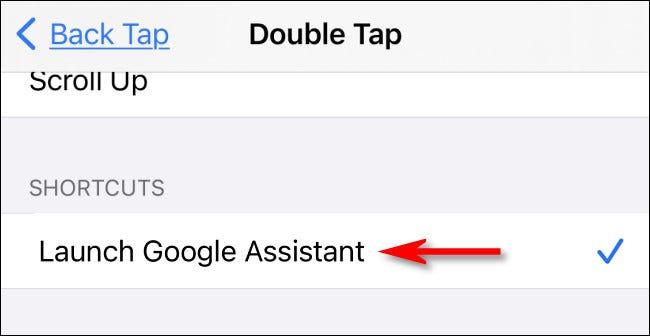 """În setările Atingeți înapoi, selectați """"Lansați Asistentul Google"""" scurtătură."""