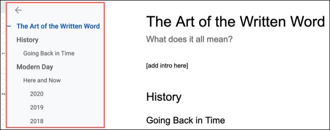 Schița documentului în Google Docs