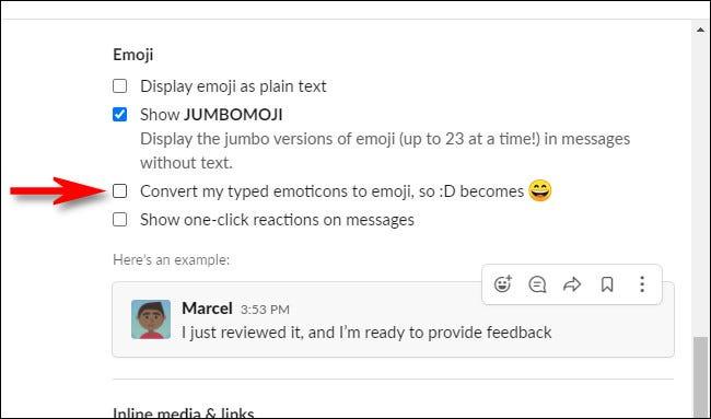 """În Slack Preferences, debifați """"Convertiți emoticoanele mele tastate în emoji."""""""