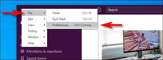 """În Windows 10 Slack Client, faceți clic pe meniul hamburger, apoi selectați Fișier></noscript> Preferințe."""" width=""""650″ height=""""239″ onload=""""pagespeed.lazyLoadImages.loadIfVisibleAndMaybeBeacon(this);"""" onerror=""""this.onerror=null;pagespeed.lazyLoadImages.loadIfVisibleAndMaybeBeacon(this);""""/></p> <p>În aplicația Slack pentru Mac sau dacă utilizați Slack într-un browser web, faceți clic pe numele spațiului de lucru din colțul din stânga sus și selectați """"Preferințe"""".  De asemenea, puteți apăsa Command + Comma pe Mac pentru a deschide """"Preferințe"""".</p> <p><img class="""