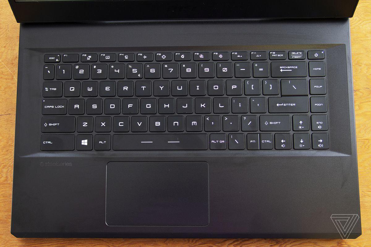 Tastatura MSI GP66 Leopard văzută de sus.