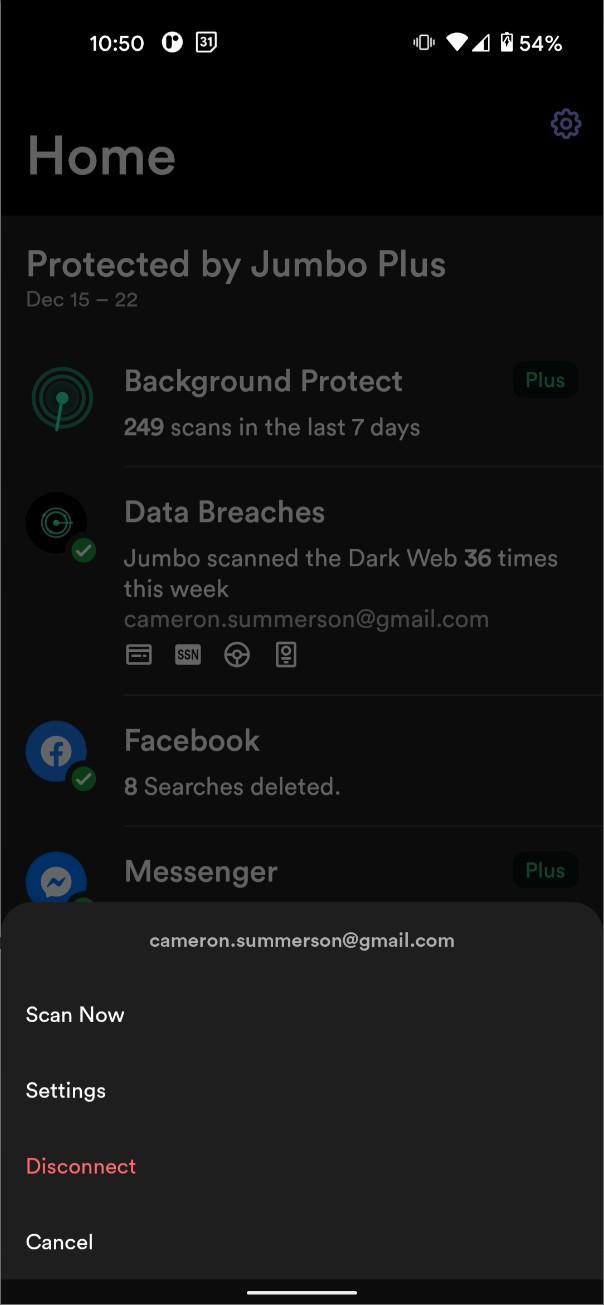 O captură de ecran a opțiunilor Facebook Jumbo Privacy