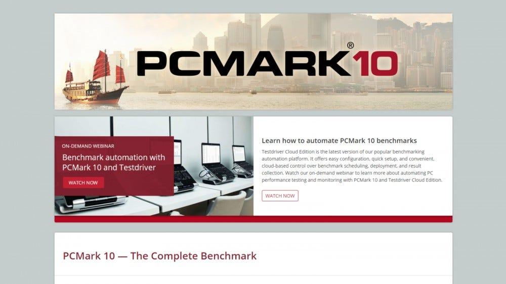 Pagina de pornire a site-ului PCMark 10