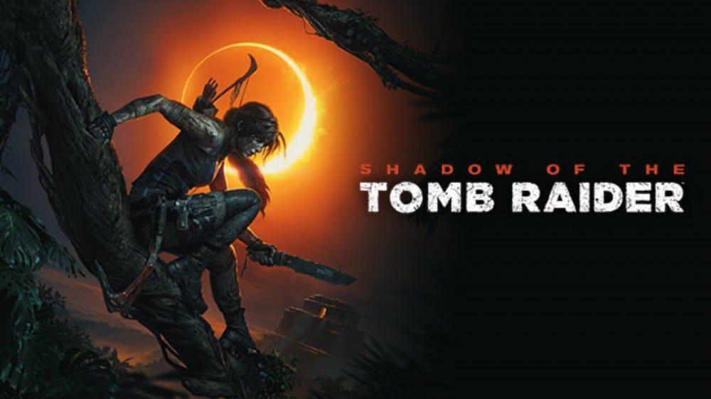 """Arta promoțională """"Shadow of the Tomb Raider"""" a lui Lara Croft urcând o viță de vie."""