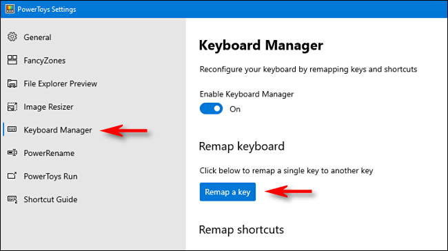 """Clic """"Manager tastatură"""" în bara laterală, apoi faceți clic pe """"Remapează o cheie."""""""