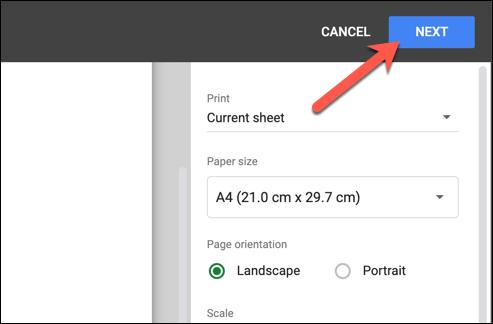 """După personalizarea antetului sau subsolului, apăsați """"Următorul"""" în colțul din dreapta sus al """"Setări de imprimare"""" meniu pentru a începe tipărirea foii de calcul editate Foi de calcul Google."""