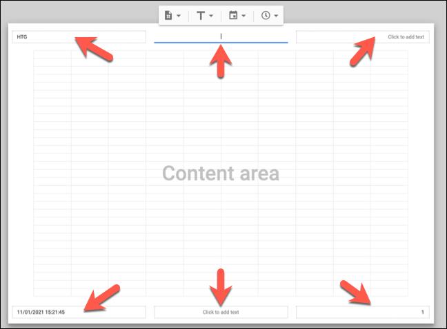 Faceți clic pe o casetă de text disponibilă în zonele de antet sau subsol ale vizualizării de imprimare vizibile Foi de calcul Google pentru a adăuga, elimina sau modifica textul existent al antetului sau subsolului.